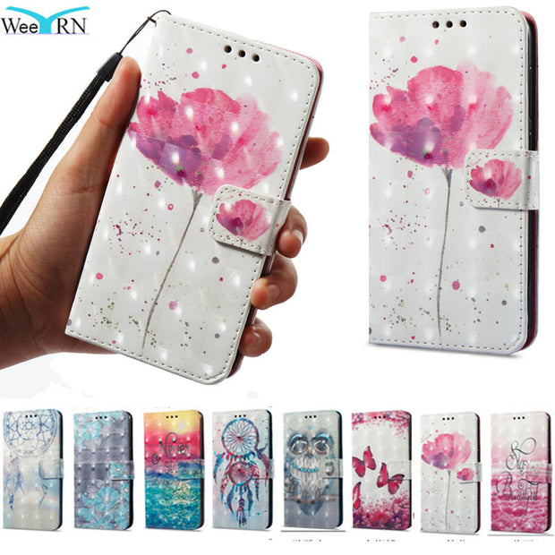 Flowers Flip Leather Case For Xiaomi Redmi 5 Plus / Redmi 5 Stand Wallet Cover Xiaomi Redmi 5 Plus Card Holder Phone Cases