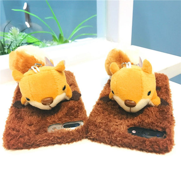 Fluffy Case For IPhone X XS Max XR Cases 3D Squirrel Plush Super Cute Soft Case For Iphone 6 S 7 8 Plus 10 X XS XR Max Cover