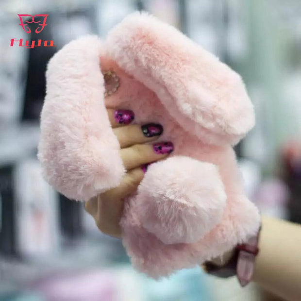 FlyTo Case For IPhone 7 8 Plus Rabbit Ears Plush Phone Bag Case For IPhone 5 6 6S X Plus Phone Pouch For IPhone XR XS MAX Coque