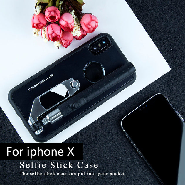finest selection 723df 5b66d Foldable Selfie Stick Phone Case For IPhone X Portable Multifunctional  Self- Stick Phone Cover Anti-scratch Anti-shock