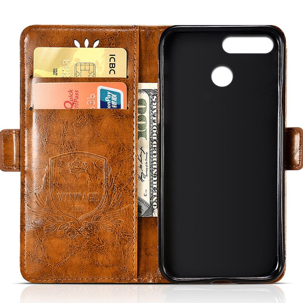 For ASUS ZenFone Max Plus M1 (ZB570TL) PU Leather Flip Cover Protectiv Phone Case With Card Slot Cash Clip Magnetic Closu