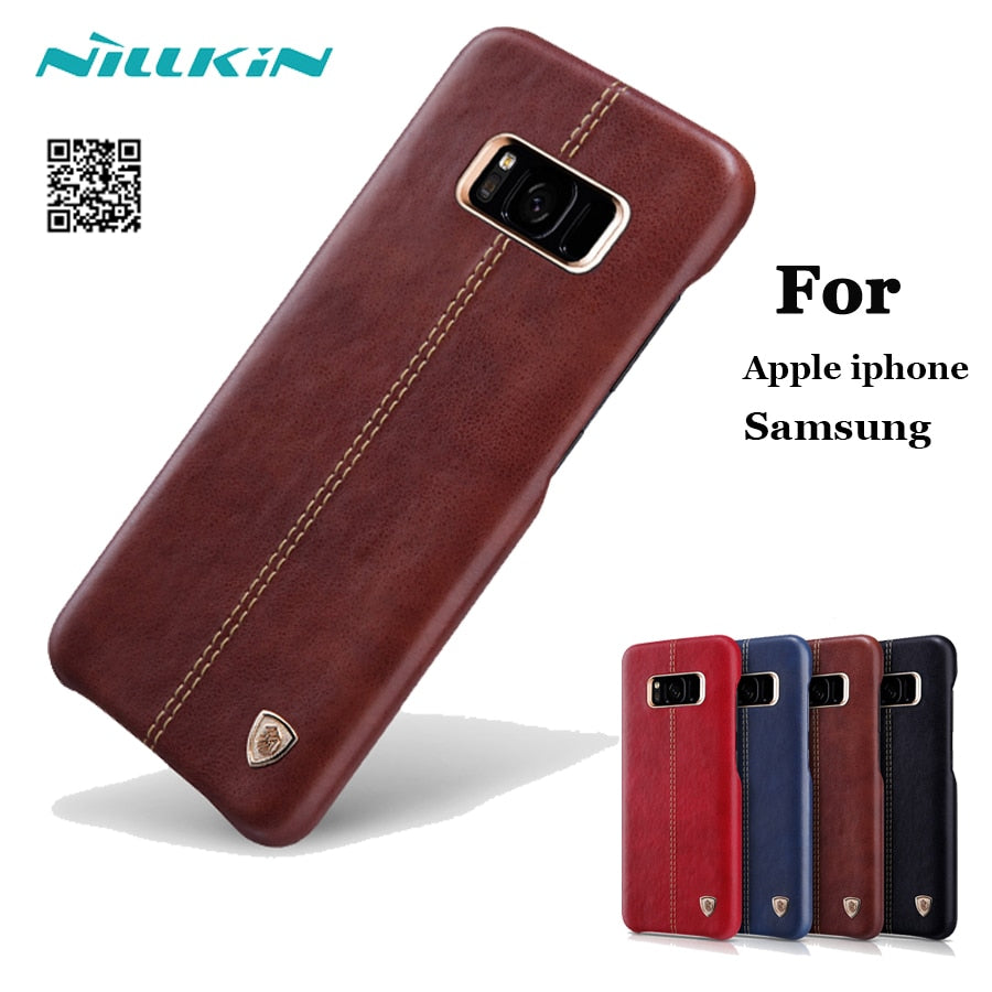 another chance 558f9 70b75 For Apple IPhone 7 8 Plus X MX Max Case Original Nillkin Englon Leather  Cover For Samsung S8+ S9 Back Cover Built-in Iron Shell