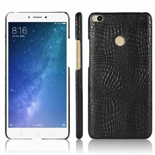 For Coque Case On Xiaomi Mi Max 2 Cases Xiomi Max 2 Cover Back Leather Plastic Luxury Crocodile Black Hard Ksiomi Xaomi Max2 PC