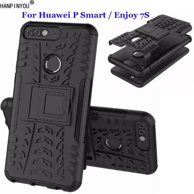 For Huawei Enjoy 7S Dazzle Shockproof Soft Silicon & Hard Plastic Dual Armor Back Case Stand Holder Cover For Huawei P Smart