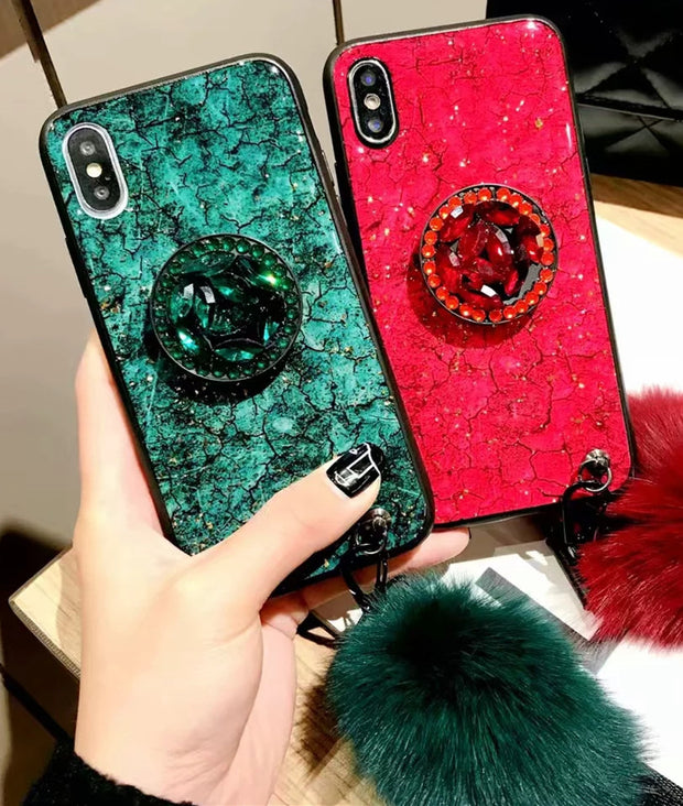 For Huawei P Smart 2019 Case Glitter Hair Ball Strap Holder Case Soft TPU Silicone Cover For Huawei Honor 10 Lite 8x 8a P Smart