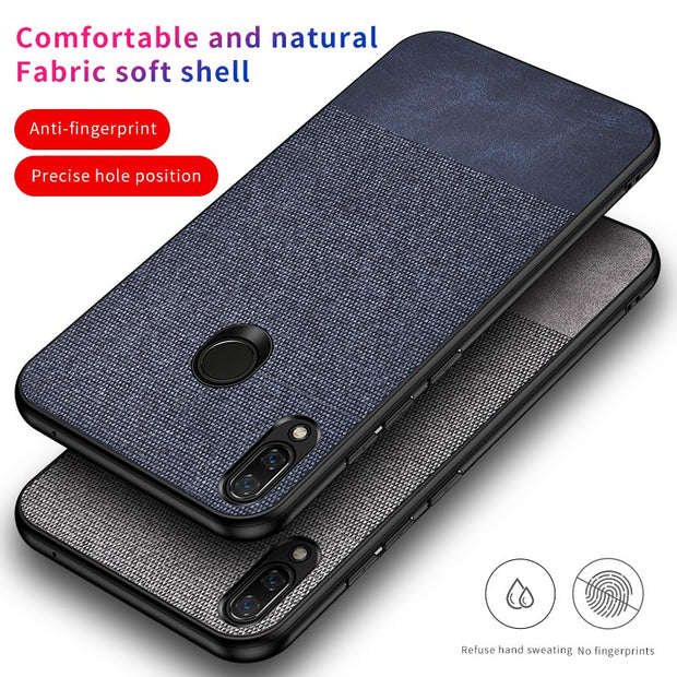 For Huawei P Smart 2019 Case Ultra-thin Leather Texture Canvas Soft Silicon Cover For Huawei P Smart 2019 Fabric Case (M228)