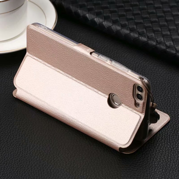 For Huawei P Smart Case Quick View Open Window Flip PU Leather Case For Huawei PSmart Phone Cases Coque Funda