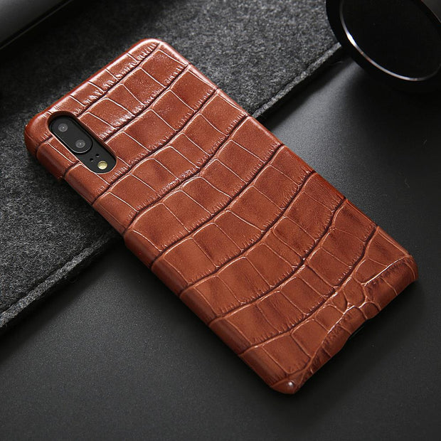 best website 2ef70 533bb For Huawei P20 Pro Leather Case Slim Phone Cover Wireless Charging  Crocodile Pattern Genuine Leather Cover
