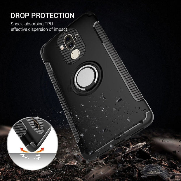 For Huawei Honor 9 V9 P10 P9 Plus Lite/nova2 Mate 9 10 Pro Case Hard PC+Soft Silicone Combo Coque Case Magnetic Ring Armor Cover