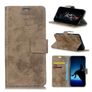 For Huawei Honor Play 8A Vintage Matte Retro PU Leather Business Stand Flip Cover Magnetic Snap Wallet Case