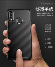 For Huawei Nova 3 Case Soft Silicone TPU Cover Carbon Fiber Patterned Cover Nova 3 Business Case Shockproof Protective Shield