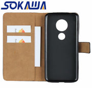 For Moto G6 Play & Moto G6 Plus Flip Case Genuine Leather Book Kickstand Protection Card Shell Wallet Cover