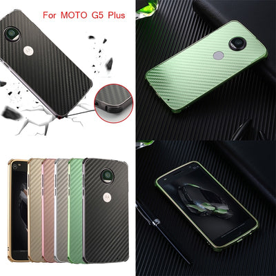 For Motorola MOTO G5 Plus Case Aluminum Metal Frame+Carbon Fiber Cover Case For MOTO G5 Plus Moto Cedric XT1670 XT1671 XT1675