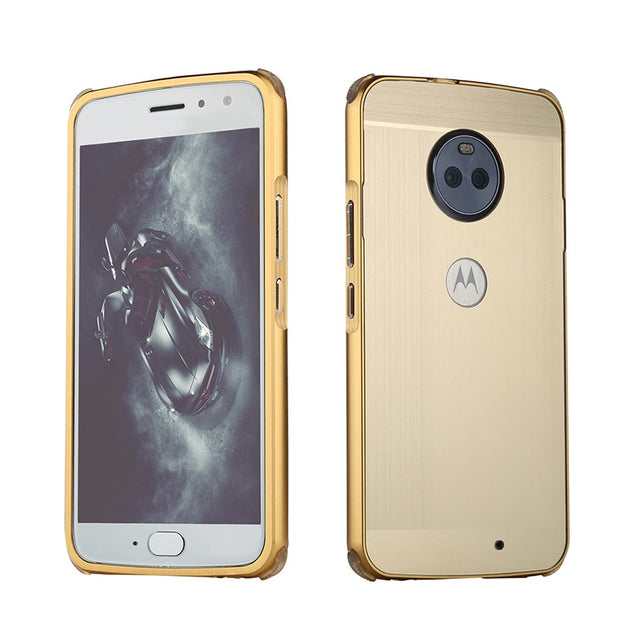For Motorola Moto E5 Case For Moto E 5 Brushed Back Cover Hard Case With Plating Metal Frame Case For Moto E5 5.0""