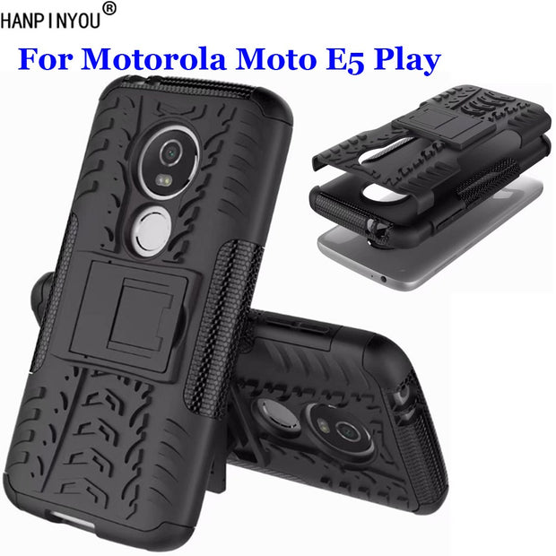 "For Motorola Moto E5 Play 5.2"" Dazzle Shockproof Soft Silicon & Hard Plastic Dual Armor Back Case Stand Holder Cover"