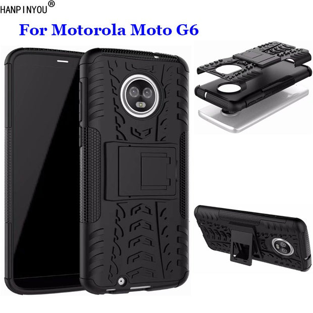 "For Motorola Moto G6 G 6 6th Gen 5.7"" Dazzle Shockproof Soft Silicon & Hard Plastic Dual Armor Back Case Stand Holder Cover"