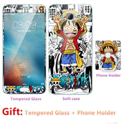 For Samsung A8 For Galaxy A8000 Bumper Silicone Case=Tempered Glass Film+ Cute Cartoon Plastic Soft Case Cover+phone Holder