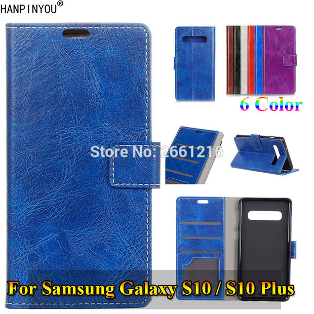 For Samsung Galaxy S10 /S10 Plus New Retro Flip Leather Case With Photo Frame Card Insert Slots Wallet Stand Holder Cover