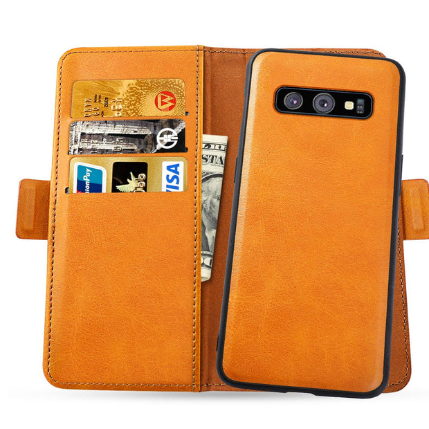 For Samsung Galaxy S10/S10 Plus/S10e Phone Case Separable Design PU Leather Flip Stand Magnetic Wallet Case With Card Pocket