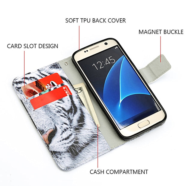 For Samsung Galaxy S7 Case Luxury Painting Leather Phone Cases Stand Wallet Cover For Samsung Galaxy S7 Edge S5 S6 Edge Case