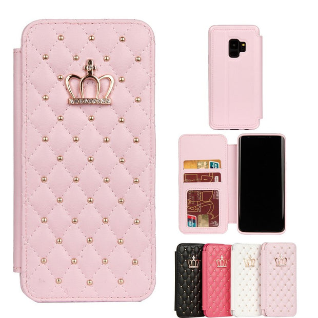 For Samsung Galaxy S9 S9 Plus Multifunction PU Leather Wallet Flip Luxury Crown Flash Drill Phone Cases For Samsung S9 Plus
