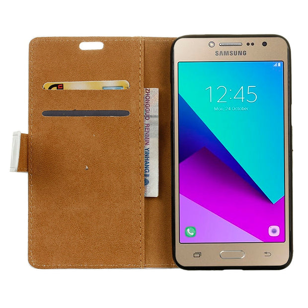 ( For Samsung J2 Prime ) Case Fashion Tower Leather Wallet Flip Coque Cover SFor Samsung J2 Prime Mobile Phone Bag Cases Funda