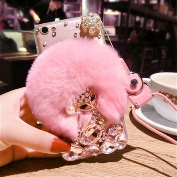 For Samsung S8/S9 S7/S6 Edge Note 9 8 5 Luxury Girl's Fashion Plush Phone Case Rhinestone Cute Fox Rabbit Fur Soft Rubber Shell