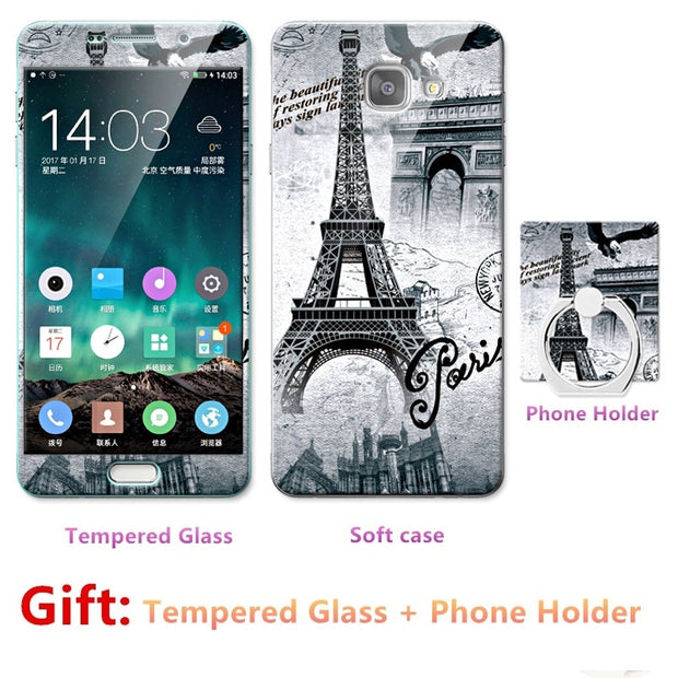 For Samsung Galaxy A5 2016/5100/5108 Bumper Silicone Case=Tempered Glass Film+ Cute Cartoon Plastic Soft Case Cover+phone Holder