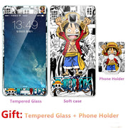 For Samsung Galaxy A7 2015/7000/7009 Bumper Silicone Case=Tempered Glass Film+ Cute Cartoon Plastic Soft Case Cover+phone Holder