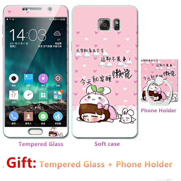 For Samsung Galaxy Note5/n9200 Bumper Silicone Case=Tempered Glass Film+ Cute Cartoon Plastic Soft Case Cover+phone Holder