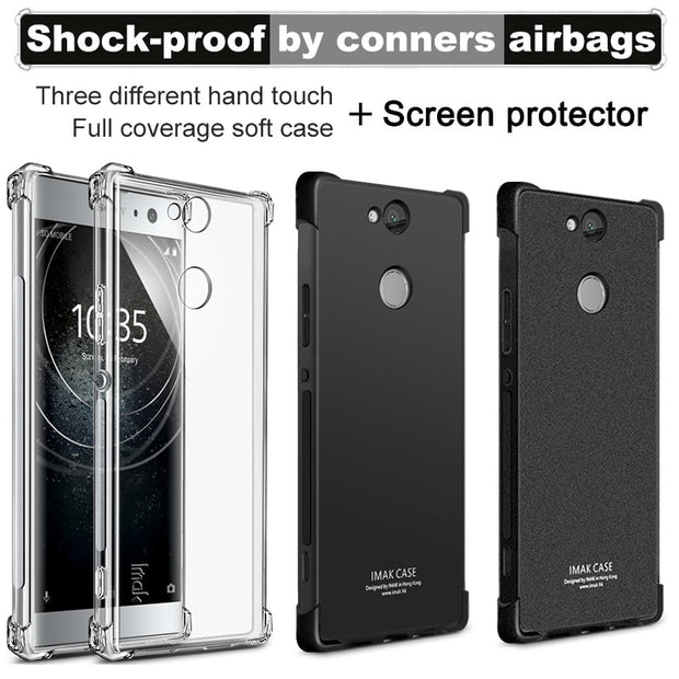 For Sony Xperia XA2 Plus Case IMAK Full Cover Soft Silicone TPU Airbag Back Cover Case For Sony XA2 Plus Gift Screen Protector