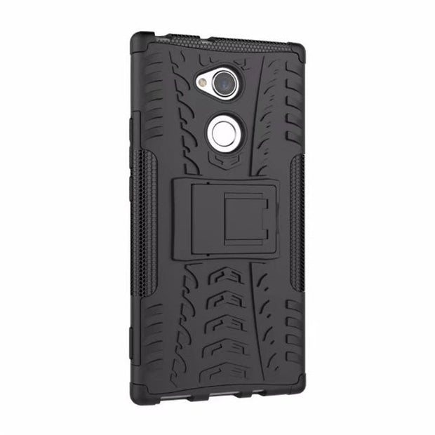 "For Sony Xperia XA2 Ultra / Dual 6.0"" New Dazzle Shockproof Soft Silicon & Hard Plastic Dual Armor Back Case Stand Holder Cover"