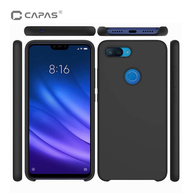 check out 5b538 6b3ba For Xiaomi Mi 8 Lite Silicone Case Soft Liquid TPU Back Cover Mi 8 Youth  (Mi 8X) Phone Case Luxury Shockproof Protective Shield