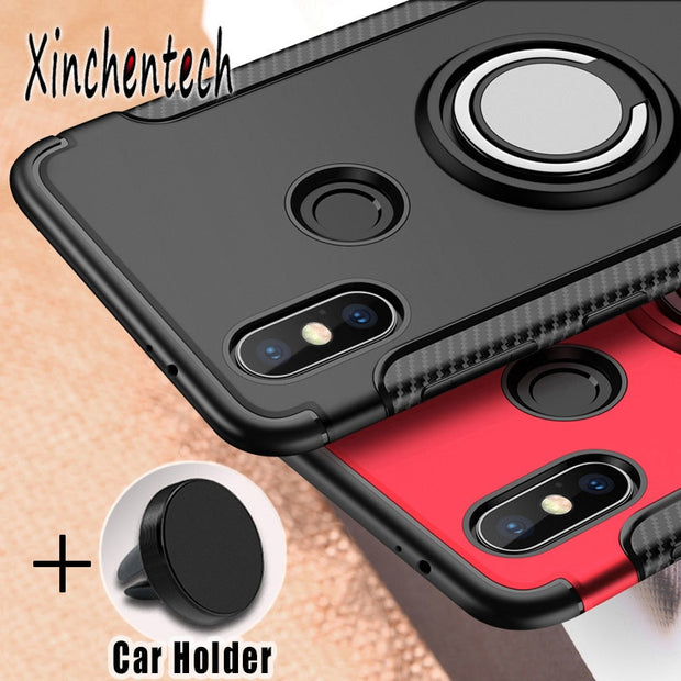 For Xiaomi Mi 8 SE Case With Holder Silicone Soft TPU+PC Back Cover Accessory Armor Coque Fundas For Xiaomi Mi8 On Pocophone F1