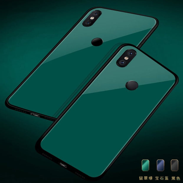 For Xiaomi Mi 8 Case Mi8 Explore Green Black Blue Gradient Color Tempered Glass Cover Mi 8 Explore Shockproof Glass Case Shell
