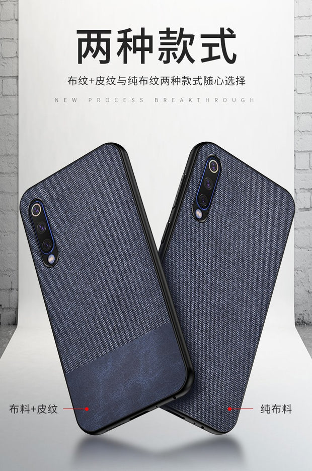 For Xiaomi Mi 9 Case Leather Texture Canvas Soft Silicon Back Cover For Xiaomi Mi 9 Fabric Case Protective Coque Capa (M228)
