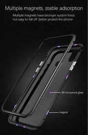 For Xiaomi Mi8 Case Magnetic Adsorption Metal Glass Phone Cover For Xiaomi Mi 8 Luxury Aluminum Tempered Glass Cover Fundas Capa