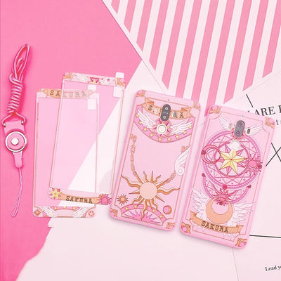 For Huawei Mate10 /plus Cardcaptor Sakura Case + Front Tempered Glass Screen Film Pink Case For Huawei Mate9 /P10 Plus V10 Cover