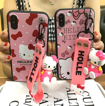 For Huawei P20 Case Cover For Huawei P20pro Soft Tpu Case , Cute Cartoon Pink Fundas For Huawei P20 3D Hello Kitty Holder Strap