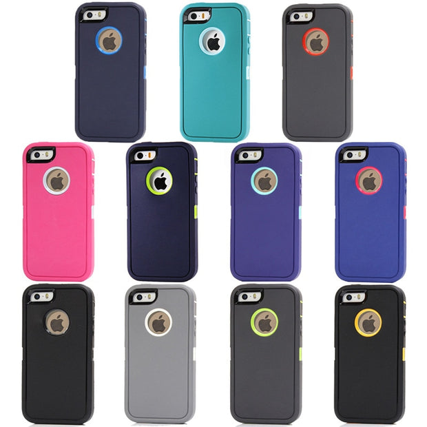 For IPhone 5 5s Se Rotatable Back Clip Screen Protector Belt Clip Impact Holster Armor Hard Plastic Holder Full Body Shockproof