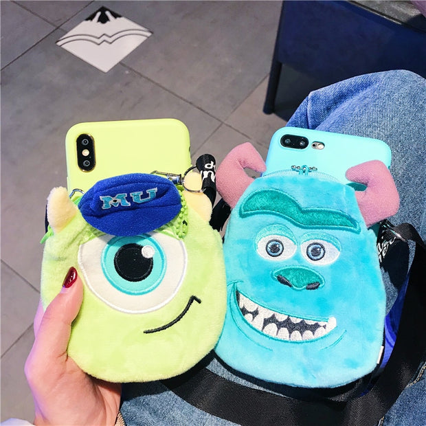 For IPhone 8 8Plus Monsters Pouch Case Cute Sullivan Wallet Shell For IPhone XS Max XR X 6 6S 6SP 7 7plus + Strap Kids Gift
