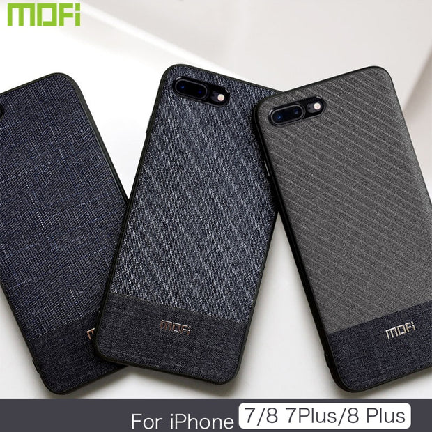 newest c2c38 6d781 For IPhone 8 Plus Case Cover Fabric Cloth For IPhone 8 Case Business Dark  Color For IPhone 7/7plus Handcraft Gentleman IP7 Case