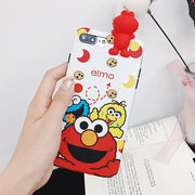 For IPhone X Sesame Street Case With 3D Lying Toy For 6/6s Plus Soft Silicone Back Cover For 7/8 Plus Cute Animal Phone Shell