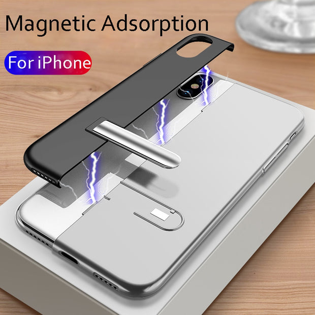 For IPhone XS 5.8inch Magnetic Adsorption Slim Bumper Bracket Shell Case Cover Color Matching Solid Color Multi-color Optional