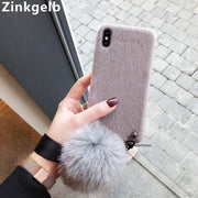 For IPhone XS Max Case Cover Luxury Cute Slim Soft TPU Silicone Hand Strap Furry Girl Phone Case For IPhone 6 6S 7 8 Plus X XR