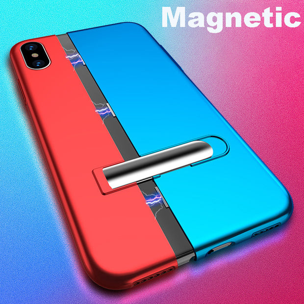 For IPhone Xs MAX 6.5inch Magnetic Adsorption Slim Bumper Bracket Shell Case #117