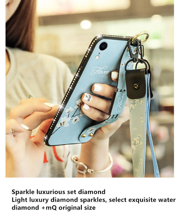 For IPhoneX XS MAX XR 7 8 6 Mobile Phone Cases Shell Female With Lanyard 7/8plus Wrist Strap Protective Sleeve Silica 6S Holder