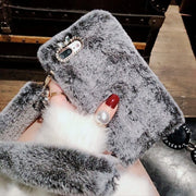 For Iphone XS Max XR 8 7 Plus 6 6s Plus X Case Cover Luxury 3D Plush Hairy Fur Fluffy With Fur Strap Soft Silicon Coque Funda