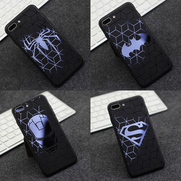 For Phone 6 7 8 X No Mold Line Matte Side Glossy Embossed Silicone Phone Case For Iphone 6plus /7plus /8plus