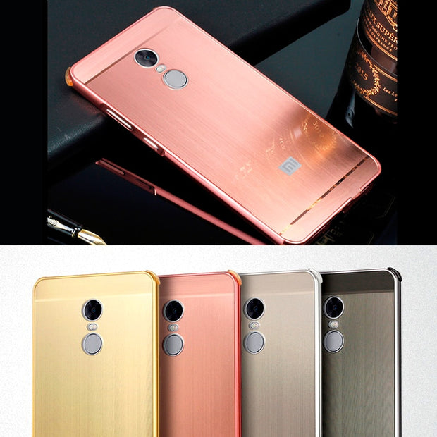 423139d5c89 Four-sided Protection Metal Case For Xiaomi Redmi Note 4X 5.5 Inch Aluminum  Frame Brushed